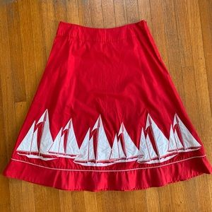 Red, A-Line, Sailboat Skirt